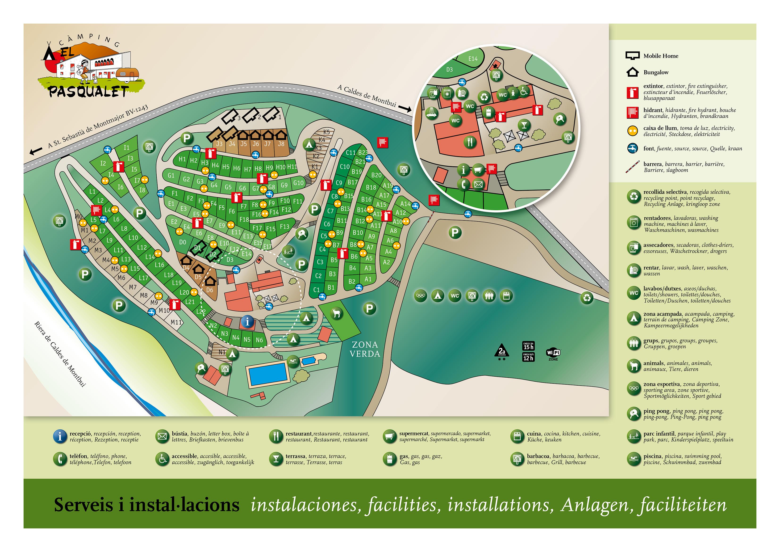 Caldes De Montbui Mapa.Mapa Del Camping Camping El Pasqualet Camping Bungalows